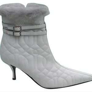 Ivory Couture Quilted Leather Mink Cuff Zip Boot